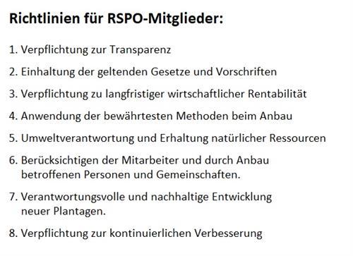 Richtlinien RSPO Siegel