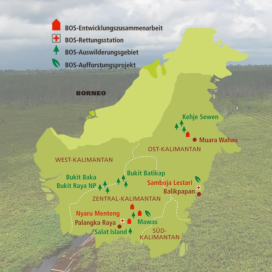 Karte mit Verordnung der BOS Schweiz-Projekte