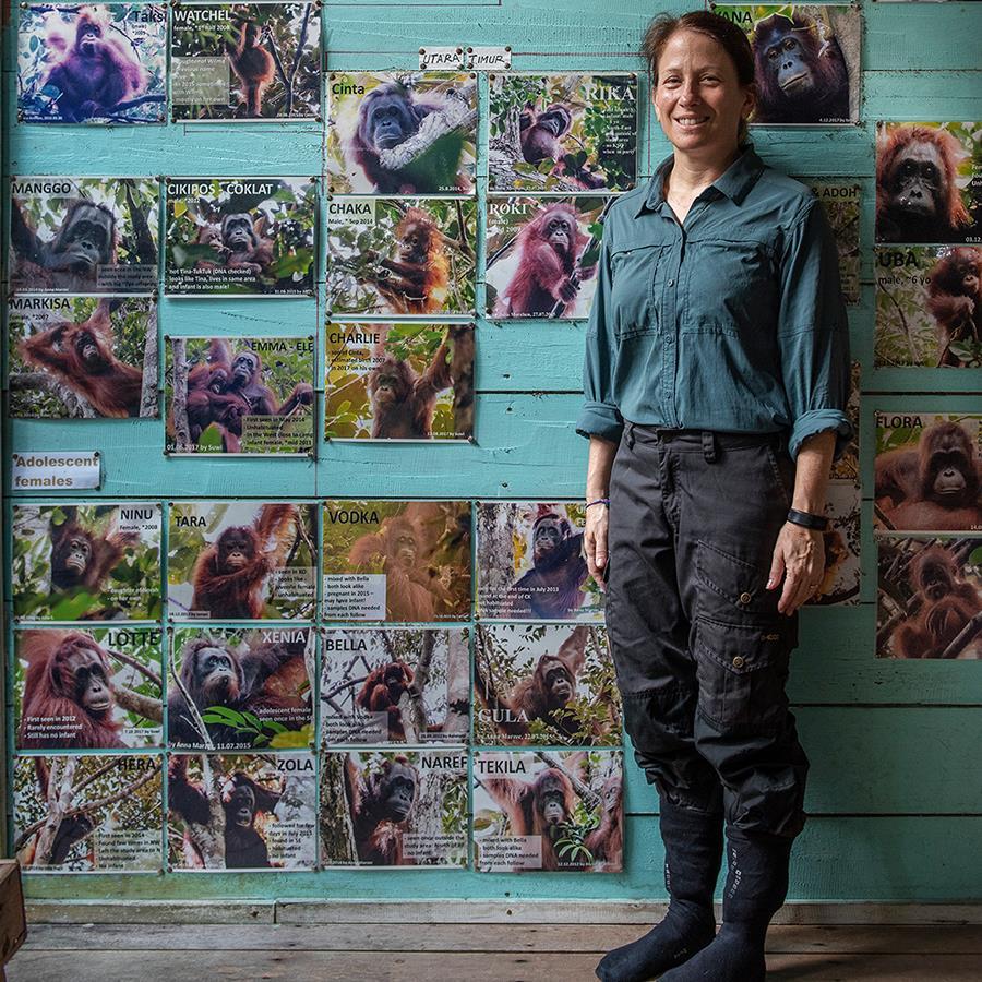 Prof. Dr. Erin Vogel vor den Profilbildern der von ihr erforschten Orang-Utans