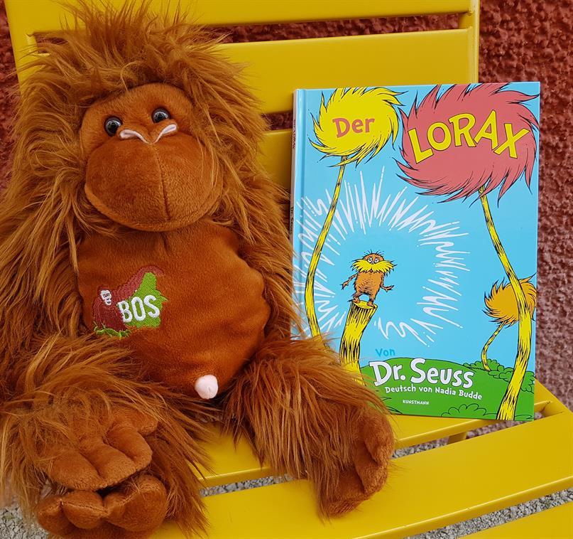 Plüsch-Orang-Utan mit dem Kinderbuch «Der Lorax»