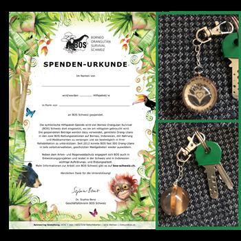 Spenden-Urkunde mit Schlüsselanhänger