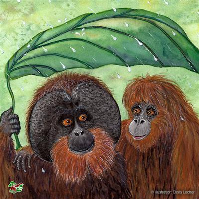 Orang-Utan-Motiv, gestaltet von Doris Lecher