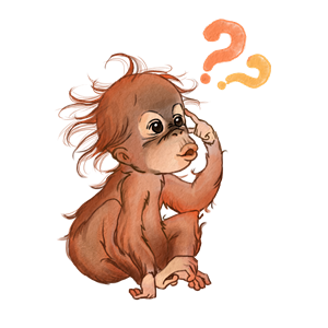 Illustration eines Baby-Orang-Utans