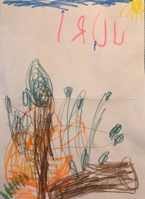 Orang-Utan-Zeichnung von Juri (5 Jahre alt)