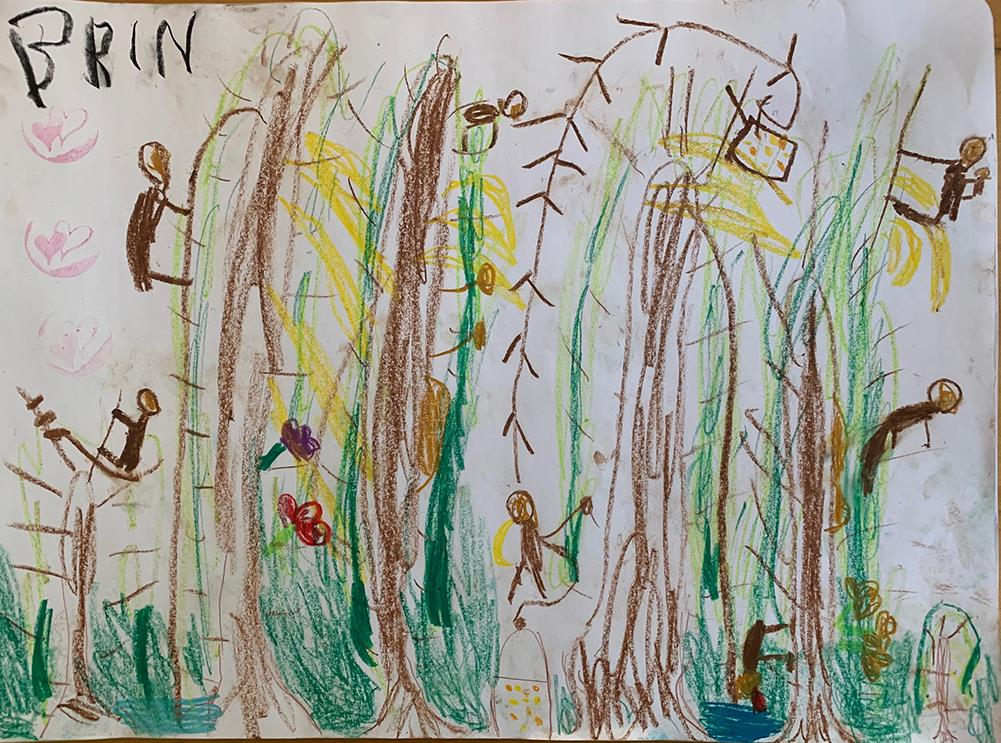 Farbenfrohes Orang-Utan-Wimmelbild, gezeichnet von Brin